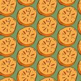 Το διανυσματικό χέρι χρωμάτισε το άνευ ραφής σχέδιο με πορτοκαλί persimmon που κόπηκε στο μισό στο πράσινο υπόβαθρο Τελειοποιήστε Στοκ Φωτογραφία