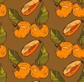 Το διανυσματικό χέρι χρωμάτισε το άνευ ραφής σχέδιο με πορτοκαλί persimmon στο καφετί υπόβαθρο Τελειοποιήστε για την ταπετσαρία,  Στοκ Φωτογραφίες