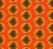 Το διανυσματικό χέρι χρωμάτισε το άνευ ραφής σχέδιο με πορτοκαλί persimmon στο κόκκινο υπόβαθρο Στοκ φωτογραφία με δικαίωμα ελεύθερης χρήσης