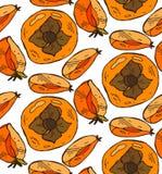 Το διανυσματικό χέρι χρωμάτισε το άνευ ραφής σχέδιο με persimmon Τελειοποιήστε για την ταπετσαρία, τυλίγοντας έγγραφο, κλωστοϋφαν Στοκ Εικόνες