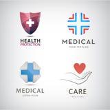 Το διανυσματικό ST του ιατρικού σταυρού, προστασία υγείας, λογότυπα εντατικής θεραπείας, εικονίδια, υπογράφει διανυσματική απεικόνιση
