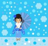 Το ιαπωνικό κορίτσι θαυμάζει το μειωμένο χιόνι Στοκ εικόνα με δικαίωμα ελεύθερης χρήσης