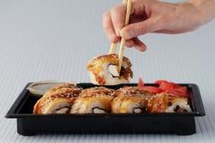 Το ιαπωνικό σούσι κουζίνας κυλά τη μακροεντολή Στοκ φωτογραφίες με δικαίωμα ελεύθερης χρήσης