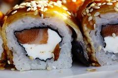 Το ιαπωνικό σούσι κουζίνας κυλά τη μακροεντολή Στοκ Εικόνα