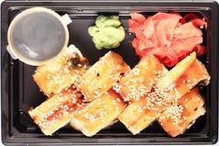 Το ιαπωνικό σούσι κουζίνας κυλά τη μακροεντολή Στοκ φωτογραφία με δικαίωμα ελεύθερης χρήσης