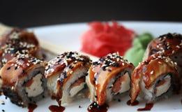 Το ιαπωνικό σούσι κουζίνας κυλά τη μακροεντολή Στοκ Φωτογραφίες