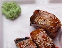Το ιαπωνικό σούσι κουζίνας κυλά τους μακρο ρόλους Στοκ Εικόνες