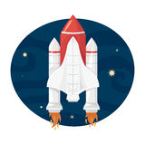 Το διαστημικό λεωφορείο απογειώνεται, διανυσματική απεικόνιση ελεύθερη απεικόνιση δικαιώματος