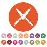 Το διασχισμένο εικονίδιο μαχαιριών Μαχαίρι και αρχιμάγειρας, σύμβολο κουζινών επίπεδος Στοκ εικόνες με δικαίωμα ελεύθερης χρήσης