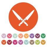 Το διασχισμένο εικονίδιο μαχαιριών Μαχαίρι και αρχιμάγειρας, σύμβολο κουζινών επίπεδος Στοκ φωτογραφία με δικαίωμα ελεύθερης χρήσης