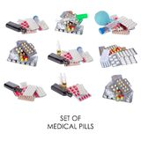 Το ιατρικό σύνολο, χάπια, ψεκάζει το υγιές σχέδιο ιατρικής Στοκ φωτογραφίες με δικαίωμα ελεύθερης χρήσης