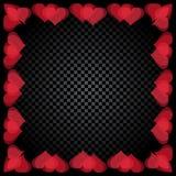 Το διαφανές κόκκινο διαμορφωμένο καρδιά πλαίσιο βρίσκεται Υπόβαθρο ελεγκτών κλίσης βαλεντίνος ημέρας s απεικόνιση Στοκ φωτογραφία με δικαίωμα ελεύθερης χρήσης
