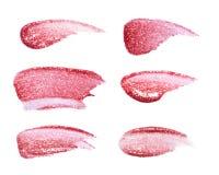 Το διαφορετικό χείλι σχολιάζει απομονωμένος στο λευκό Το λεκιασμένο χείλι σχολιάζει το δείγμα στοκ εικόνες με δικαίωμα ελεύθερης χρήσης