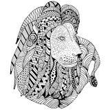 Το λιοντάρι βάζει το χέρι που σύρεται doodle Αντικείμενο που απομονώνεται στο λευκό Στοκ Φωτογραφίες