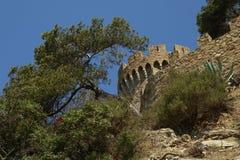Το ισπανικό Castle και πράσινο τοπίο φύσης Στοκ φωτογραφία με δικαίωμα ελεύθερης χρήσης