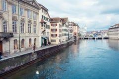 Το ιστορικό κέντρο πόλεων της Ζυρίχης με τον κύκνο Στοκ φωτογραφία με δικαίωμα ελεύθερης χρήσης