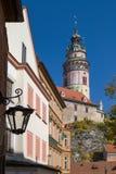 Το ιστορικό κέντρο Cesky Krumlov, όμορφη εικονική παράσταση πόλης cesky τσεχική πόλης όψη δημοκρατιών krumlov μεσαιωνική παλαιά Στοκ φωτογραφίες με δικαίωμα ελεύθερης χρήσης