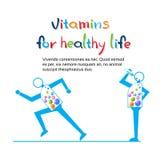 Το ισχυρό τρέξιμο χαρακτήρα κινουμένων σχεδίων, τρώει το υγιές έμβλημα ζωής βιταμινών με το διάστημα αντιγράφων διανυσματική απεικόνιση