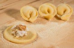 Το ιταλικό σπιτικό tortellini, ανοικτός και κλειστός, γέμισε με το τυρί ricotta και τα ξύλα καρυδιάς Στοκ εικόνες με δικαίωμα ελεύθερης χρήσης