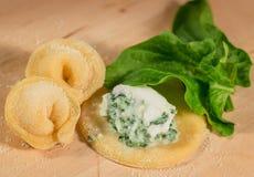 Το ιταλικό σπιτικό tortellini, ανοικτός και κλειστός, γέμισε με το τυρί ricotta και το φρέσκο σπανάκι Στοκ Φωτογραφία