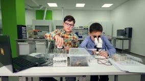 Το κάνοντας πείραμα επιστήμης, που μελετά τα δείγματα στο εργαστήριο steadicam 4K απόθεμα βίντεο