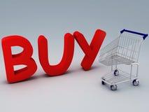 Το κάρρο αγορών και αγοράζει το κείμενο Στοκ Εικόνες