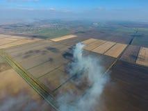 Το κάψιμο του αχύρου ρυζιού στους τομείς Καπνός από το κάψιμο του αχύρου ρυζιού στους ελέγχους Πυρκαγιά στον τομέα Στοκ Φωτογραφίες
