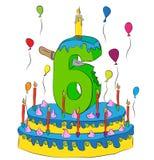 Το κέικ γενεθλίων με τον αριθμό έξι σημαδεύει, γιορτάζοντας το έκτο έτος ζωής, ζωηρόχρωμα μπαλόνια και επίστρωμα σοκολάτας ελεύθερη απεικόνιση δικαιώματος
