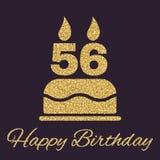 Το κέικ γενεθλίων με τα κεριά υπό μορφή αριθμού 56 εικονίδιο σύμβολο γενεθλίων Τα χρυσά σπινθηρίσματα και ακτινοβολούν Στοκ Φωτογραφίες