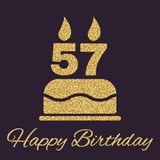 Το κέικ γενεθλίων με τα κεριά υπό μορφή αριθμού 57 εικονίδιο σύμβολο γενεθλίων Τα χρυσά σπινθηρίσματα και ακτινοβολούν Στοκ φωτογραφίες με δικαίωμα ελεύθερης χρήσης