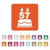 Το κέικ γενεθλίων με τα κεριά υπό μορφή αριθμού 57 εικονίδιο σύμβολο γενεθλίων επίπεδος Στοκ Φωτογραφίες
