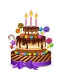 Το κέικ διακοπών για τα παιδιά για να συγχάρουν τα γενέθλια, απομονώνει και σύνολο κεριών, καραμέλα, σοκολάτα, καραμέλα, διανυσμα Στοκ Εικόνες