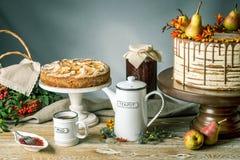 Το κέικ μελιού χύνει πέρα από τη σοκολάτα και διακοσμημένος με τα αχλάδια και τη λευκαγκαθιά σε έναν ξύλινο πίνακα Γλυκιά ζωή φθι στοκ φωτογραφίες
