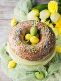 Το κέικ Πάσχας με το πάγωμα, ψεκάζει και αυγά Στοκ Εικόνα