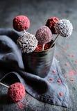 Το κέικ σοκολάτας σκάει διακοσμημένος με ψεκάζει Στοκ Εικόνες
