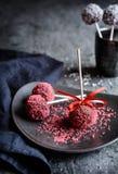 Το κέικ σοκολάτας σκάει διακοσμημένος με ψεκάζει Στοκ Εικόνα