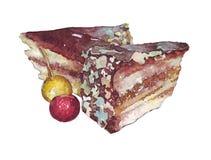 το κέικ τεμαχίζει δύο Στοκ Εικόνες