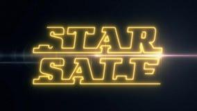 Το κίτρινο κείμενο ΠΏΛΗΣΗΣ του STAR νέου λέιζερ εμφανίζεται με τη λαμπρή ελαφριά οπτική ζωτικότητα φλογών στο μαύρο υπόβαθρο - νέ απεικόνιση αποθεμάτων