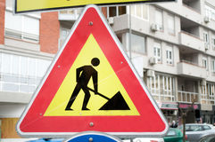Το κίτρινο σημάδι για τις οικοδομές Στοκ εικόνα με δικαίωμα ελεύθερης χρήσης