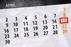 Το καθημερινό στις 15 Απριλίου σελίδων 2018 επιχειρησιακών ημερολογίων Στοκ Εικόνες