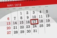 Το καθημερινό στις 17 Μαΐου σελίδων 2018 επιχειρησιακών ημερολογίων Στοκ Εικόνες