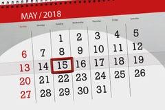Το καθημερινό στις 15 Μαΐου σελίδων 2018 επιχειρησιακών ημερολογίων Στοκ Φωτογραφία