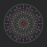Το καθιερώνον τη μόδα hipster χρωμάτισε τον κύκλο, φωτεινό φιλοσοφικό σύμβολο, κυκλικά στοιχεία που είναι θρησκευτικά, Στοκ Εικόνες