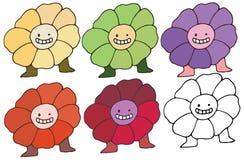 Το καθορισμένο ευτυχές χέρι λουλουδιών χρώματος τεράτων κινούμενων σχεδίων τυπωμένων υλών doodle σύρει απεικόνιση αποθεμάτων