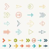 Το καθορισμένο doodle εικονίδιο χέρι σημαδιών βελών σύρει τη διανυσματική απεικόνιση των στοιχείων σχεδίου Ιστού Στοκ Φωτογραφίες