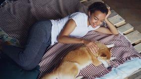 Το καλό κορίτσι αφροαμερικάνων είναι σκυλί κατοικίδιων ζώων κτυπήματος καλό στο κρεβάτι στο σπίτι μαζί, απολαμβάνοντας το υπόλοιπ απόθεμα βίντεο
