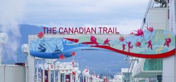 Το καναδικό ίχνος στο μέρος του Καναδά στο Βανκούβερ - το ΒΑΝΚΟΥΒΕΡ - τον ΚΑΝΑΔΑ - 12 Απριλίου 2017 στοκ εικόνες