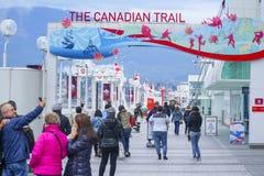 Το καναδικό ίχνος στο μέρος του Καναδά στο Βανκούβερ - το ΒΑΝΚΟΥΒΕΡ - τον ΚΑΝΑΔΑ - 12 Απριλίου 2017 στοκ φωτογραφία με δικαίωμα ελεύθερης χρήσης