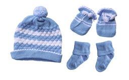 Το καπέλο μωρών φορά γάντια στην κάλτσα στοκ εικόνες με δικαίωμα ελεύθερης χρήσης