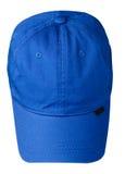 το καπέλο ανασκόπησης απ&omi Καπέλο με ένα γείσο μπλε καπέλο Στοκ Φωτογραφία
